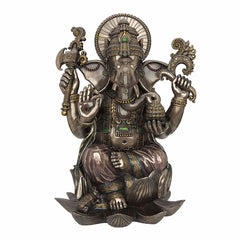 Lord Ganesha Sitting On Lotus (24 Inch) Ethnic Sculpture
