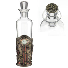 Steampunk Spirit Decanter With Clock - Myth & Legend Sculpture - Cold Cast Bonze / Glass