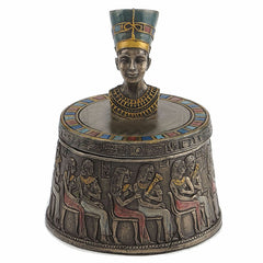 Bust Of Nefertiti Egyptian Round Trinket Box - Home Accent