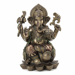 Lord Ganesha Sitting On Lotus Hindu and Buddhism Sculpture