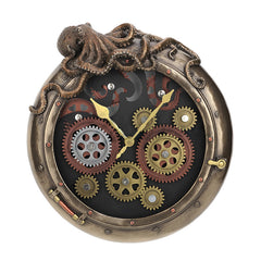 Steampunk Octopus Porthole Wall Clock - Myth & Legend