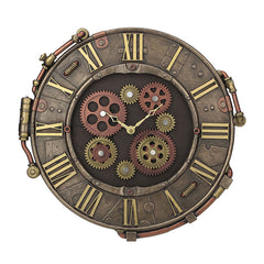 Steampunk Rivet Metal Plate Wall Clock - Steampunk Sculpture - Cold Cast Bronze