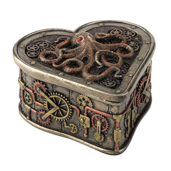 Steampunk Octopus Heartshaped Trinket Box - Steampunk Sculpture - Cold Cast Bronze