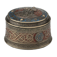Norse God Odin Round Viking Trinket Box - Home Accent
