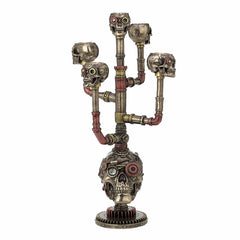 Steampunk Skull Multi Head Branched Candle Holder Myth & Legend. Sculpture
