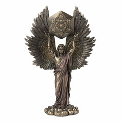 Metatron Holding Sacred Geometry Cube Sculpture