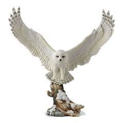 Flying Snowy Owl Animal Sculpture