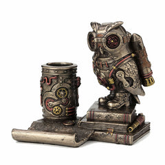 Steampunk Owl Cell Phone Stand Pen Holder Animal Sculpture