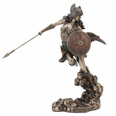 Norse Goddess Valkyrie Wielding Spear And Shield Myth & Legend. Sculpture