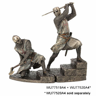 Knights Templar on Stairs Slashing With Two Handed Sword Knights & Warriors. Sculpture