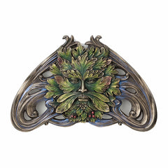 Green Man Art Nouveau Vine Wall Plaque Myth & Legend. Sculpture