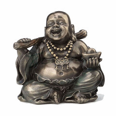 Laughing Buddha (Budai) Holding Yuanbao And Ruyi Ethnic Sculpture
