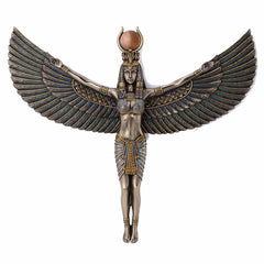 Egyptian Goddess Isis Spreading Wings Wall Plaque Sculpture