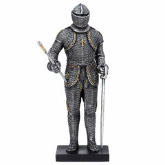 Ceremonial Armor Holding Sword And Stick Mace Sculpture