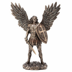 Archangel Saint Michael With Sword And Shield Religious. Sculpture