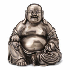 Laughing Buddha (Budai) Holding Beads And Bag Hindu and Buddhism Sculpture