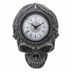 Xeno Flat Skull Wall Clock Steampunk. Sculpture