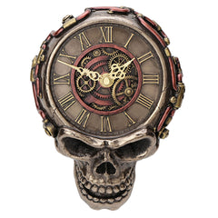 Steampunk Flat Skull Wall Clock - Myth & Legend Sculpture - Cold Cast Bronze