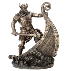 Viking Warrior Standing On Prow - Myth & Legend Sculpture - Cold Cast Bronze