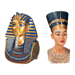 SET OF LARGE TUT AND NEFERTITI BUSTS