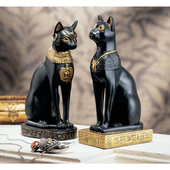 "8"" Ancient Egyptian Sculpture - Cat Goddess Bastet Statue Figurine - Set of 2"