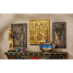 Egyptian Papyrus Combo Wall Sculptural Plaqueset King Tut Goddess Isis and Goddess Horus