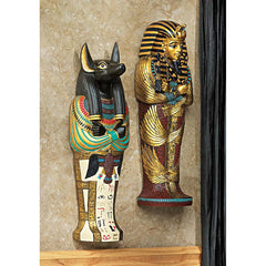 "12"" Egyptian Wall Scultpural Decor King Tut Anubis"