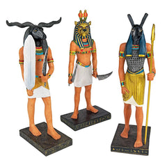 Ancient Egyptian Collectible Gods Khnum Seth & Mahes Statues Sculptures - Set...