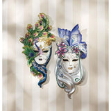 "13.5"" Venenetian Art Deco Carnival Peacock Mask Wall Mask -Set of 2"