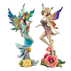 Home Garden Pixie Fairies Statue Sculpture Figurine - Set of 2