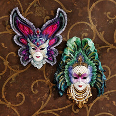 Italian Venetian Carnival Maidens of Mardi Gras Wall Mask Sculpture - Set of 2