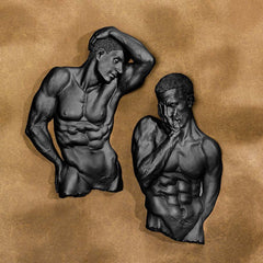 Classic Nude Male Torso Wall Sculpture - Set of 2