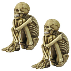 Bone-Chilling Skeleton Sitter Statue: Set of Two