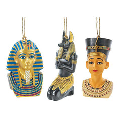 Classic Egyptian Tut Isis Anubis Statue Collection Ornament - Set of 3