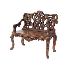 Antique Replica Black Forest Sculptural Bear Bench
