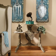 Rustic French Wood Crafted Accent Table