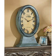Antique Replica Oval Roman Numeral Mantel Clock