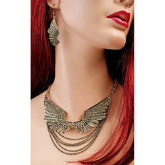 Glowing Wings of Isis Necklace and Earrings Ensemble