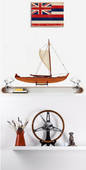 XoticBrands Decor Hawaiian Canoe Handrafted Wooden Model Display