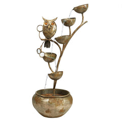 Whooo's Watching Owl Cascading Metal Sculptural Fountain