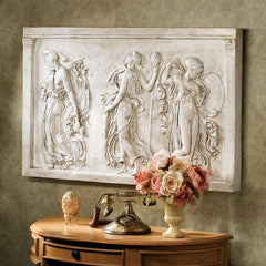 Dancing Muses of Hellenistic Greece Sculptural Wall Frieze