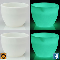 Glow in the Dark Planter Urns - Set of Two White 12 inch Lido Flower Cachepots - Revolutionary Garden Decorations