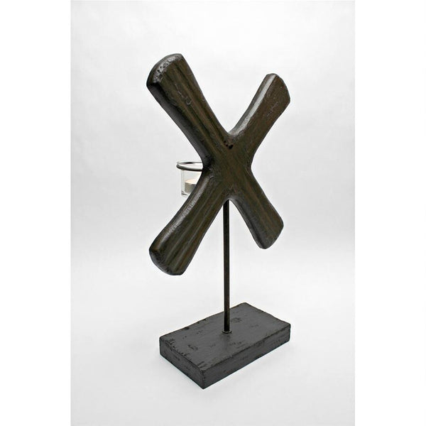 "X Form 15"" Candleholder Sculpture"