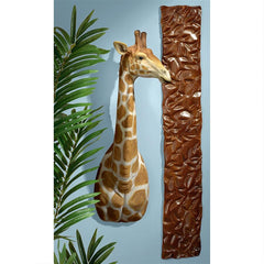 African Savanna Giraffe Wall Sculpture