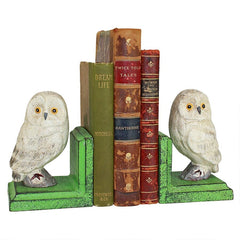 Wise Snowy Owl Cast Iron Sculptural Bookend Pair