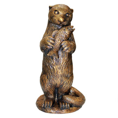 Standing Otter with Fish Cast Bronze Garden Statue