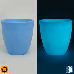 Glow in the Dark Planter Urn - Blue 19.5 inch Aria Flower Cachepot - Revolutionary Garden Decorations