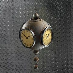 Victorian Grunge Four-Sided Hanging Spherical Clock