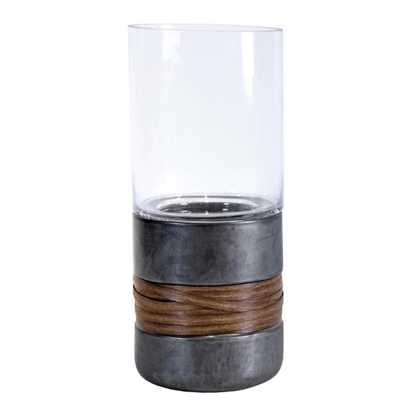 "Etu 13"" Glass and Black Ceramic Candle Holder"