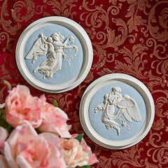 Morning and Night Angel Roundel Wall Plaques (1815): Set of Two